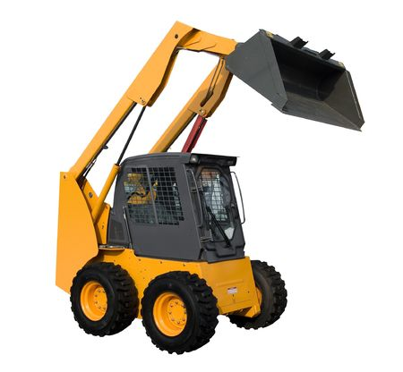 New yellow minitractor isolated on pure white photo