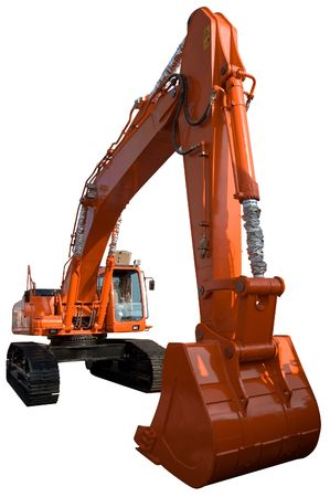 New orange excavator isolated on pure white