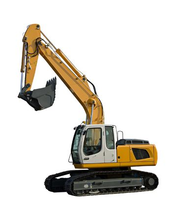 agricultural tools: New yellow excavator isolated on pure white