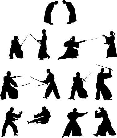 peleando: Muchas siluetas de combate con espadas de samurai y sin Vectores