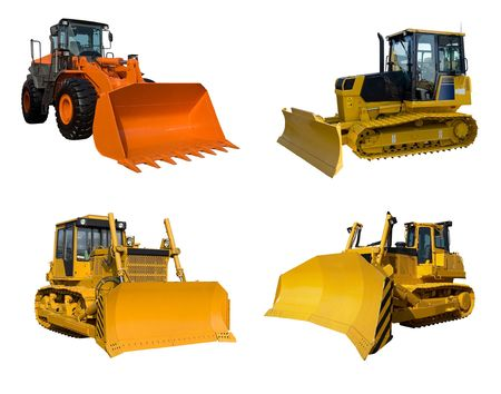Several bulldozers isolated on white photo