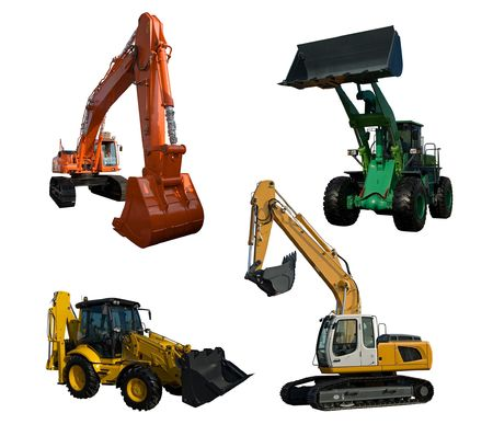 Several new excavator isolated on pure white photo