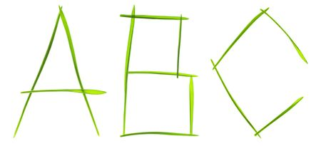 Ecological font. Letters made from grass blades isolated on white Stock Photo - 5869786