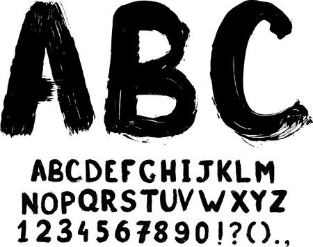 Grunge hand-written vector typeset with digits