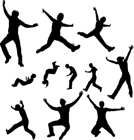 Some silhouettes of jumping girls Vector