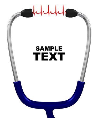 equipos medicos: Estetoscopio y cardiogram con copyspace aislado en blanco Foto de archivo