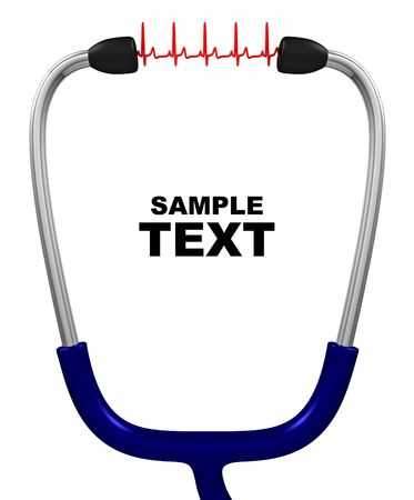 medical device: Stethoscope and cardiogram with copyspace isolated on white