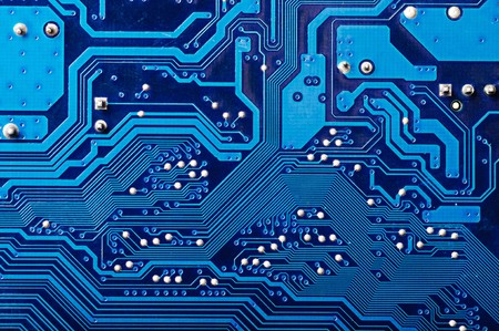 electronic circuit: Blue digital circuit board background (pc motherboard) Stock Photo
