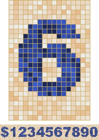 Vector font made of truelike mosaic. Digits. Vector