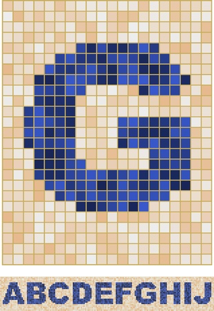 Vector font made of truelike mosaic. A-J Vector