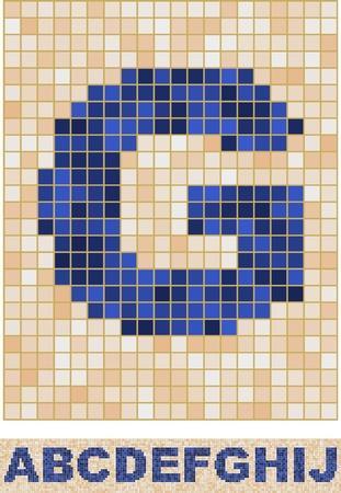 mosaic wall: Vector font made of truelike mosaic. A-J