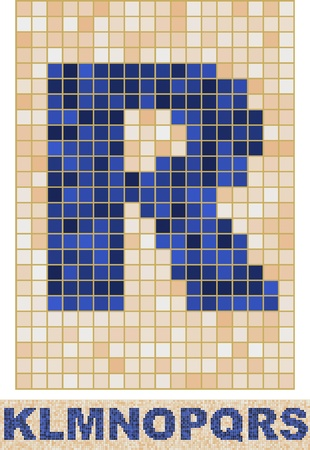 Vector font made of truelike mosaic. K-S. Vector