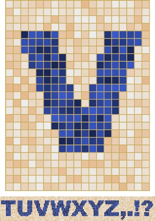 Vector font made of truelike mosaic. T-Z. Vector
