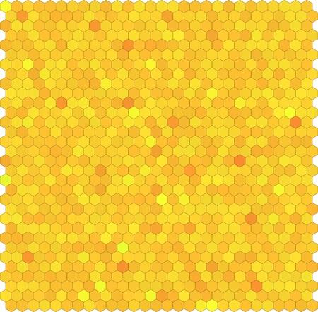 honeyed: Yellow honeycomb hexagon vector background. Seamless pattern.
