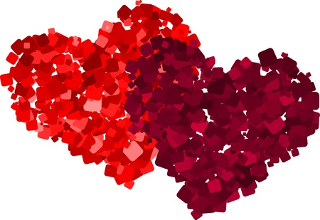 Two red hearts made from square fragments Illustration