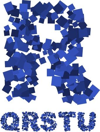 Blaue Schriftart gemacht von fliegenden Quadratzahlen Standard-Bild - 8687697