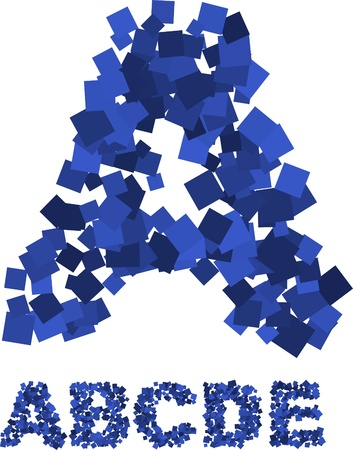 Blue font made of flying squares