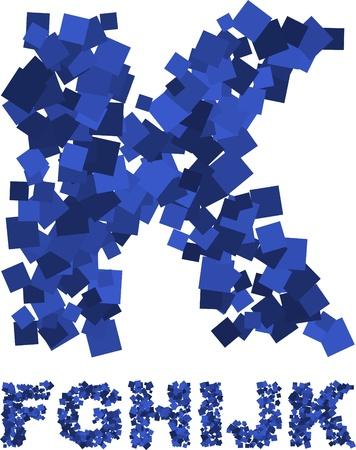 splinter: Blue font made of flying squares