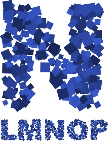 Blue font made of flying squares Stock Vector - 8687699