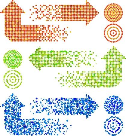 flechas curvas: signos de flecha de mosaico en diferentes t�cnicas Vectores