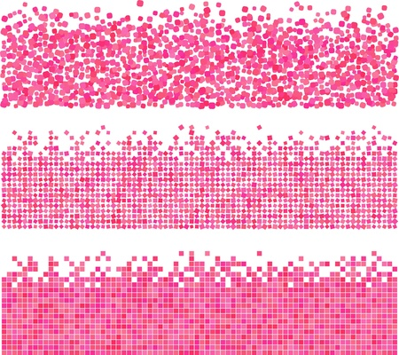 Pink abstract backgrounds of mosaic tiles in different techniques photo
