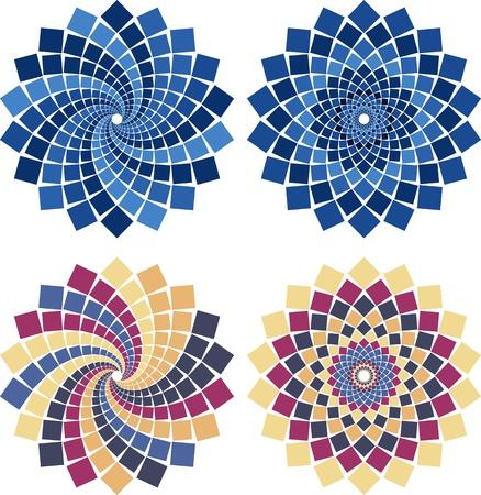 circulos concentricos: flor de mosaico en diferentes colores y estilos