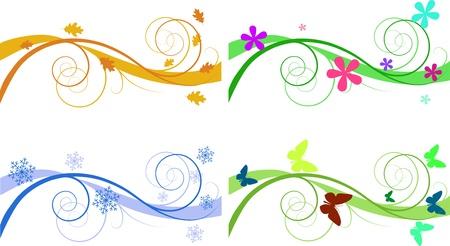Floral Backgrounds für Banner der verschiedenen Jahreszeiten Standard-Bild - 8779118