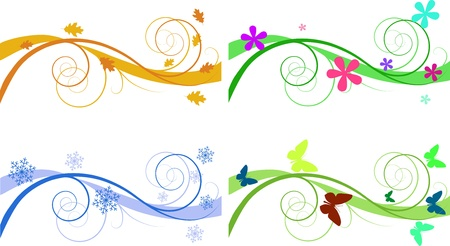 floral backgrounds for banners of different seasons Stock Vector - 8779118