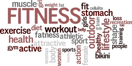 workout gym: Fitness word cloud background Illustration