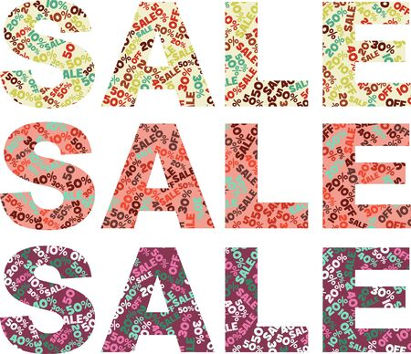 amounts: Three word SALE with discount amounts in different colours Illustration