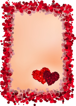 Valentines Day vector greeting card with border and two hearts Vector