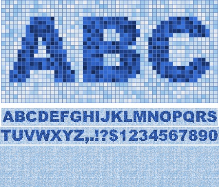 font made of truelike mosaic with background. Blue as in swimming pool. Illustration