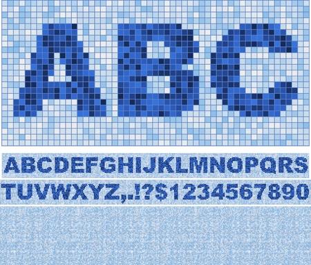 Font truelike Mosaik mit Hintergrund gemacht. Blau wie im Schwimmbad. Standard-Bild - 8779139