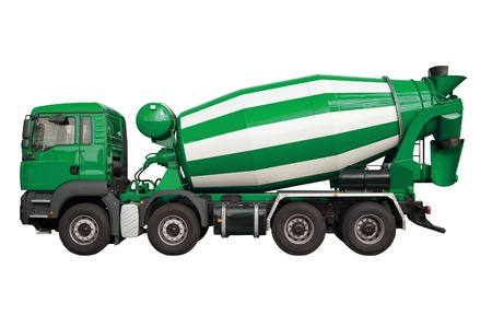 Green mixer lorry isolated on white background photo