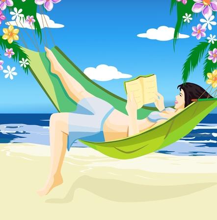 Beautiful girl reading book in hammock on the beach