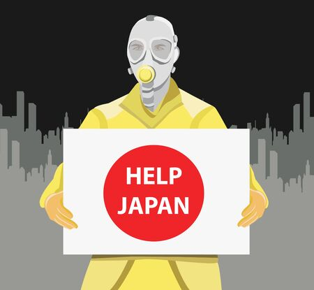 radiation suit: Man in gas mask holding Japan flag