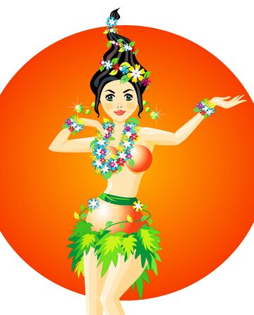 hula: bailar�n de Hula con guirnaldas de flores Vectores