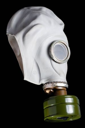 Rubber gas mask isolated on black background Stock Photo - 9410185
