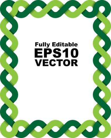 trenzado: Marco de vector de dos trenzada l�neas verdes Vectores