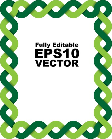 plait: Vector frame made of two braided green lines