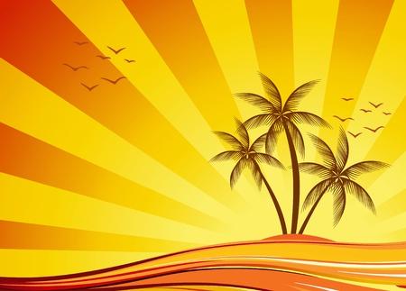 gaviota: Puesta de sol tropical abstracto con el vector de la isla y las Palmas