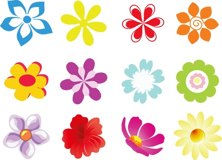 flower icon: Set of 12 vector flowers on white background