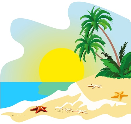 Landscape of a coast of tropical island vector Stock Vector - 9720327