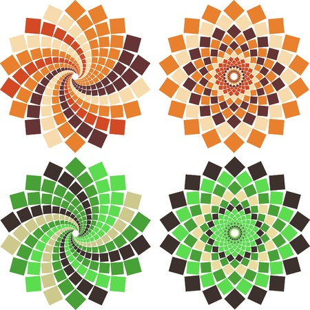 circulos concentricos: Flor de mosaico de vectores en diferentes colores y estilos
