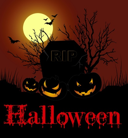 Vector Halloween card with pumpkins on the cemetery at night