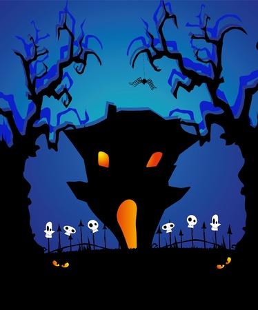 Vector Halloween card of haunted house in moonlight Vector
