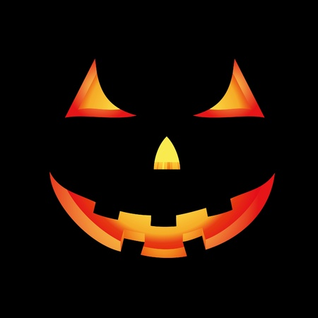 Vector Halloween card with glowing scary pumpkin
