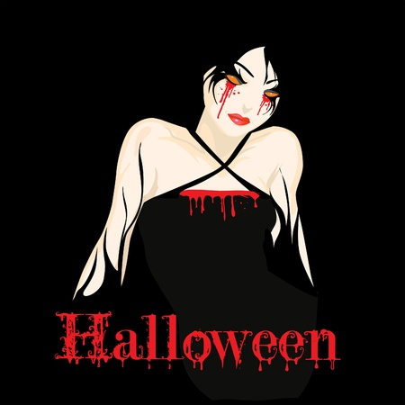 Vector Halloween card with bloody young girl