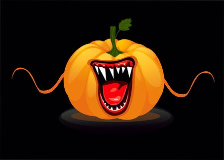 Halloween card with a screaming scary pumpkin Standard-Bild