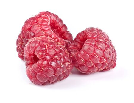 red raspberry fruits isolated on white background Standard-Bild